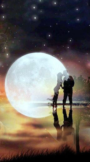 Love Couple With Big Moon